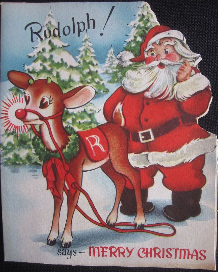 Vintage Christmas Greeting Card Rudolph Red Nose Reindeer and Santa Mid Century