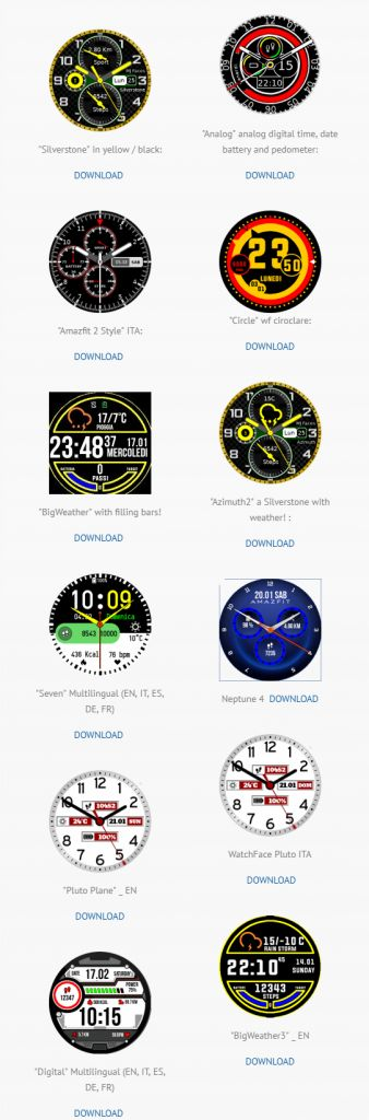This site contains the watch faces created in Java by Marco F. with the graphics and the support of John BNC – so far as we know these are the only people creating .APK watchfacesthat offer features not possible on the .WFZ watchfaces. Source: Amazfit ITALY! – Johnbnc Hi -Tech