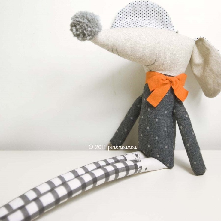 soft toy mouse Nicolau * grey with orange loop