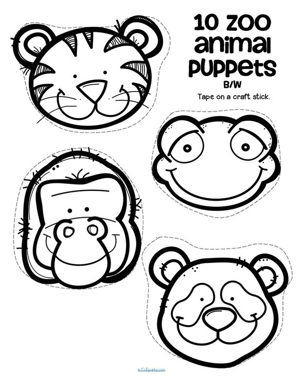 Set of 10 craft stick puppets, in b/w, with a Zoo Animal