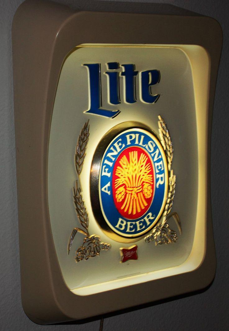Vintage 1970s Miller Lite Beer Sign