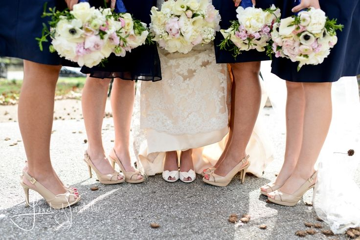 Navy bridesmaid dress, nude heels, and pastel bouquets. #navy ...