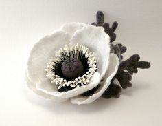 Felt flower brooch White Poppy by Roltinica on Etsy, $34.00  Isn't this lovely??
