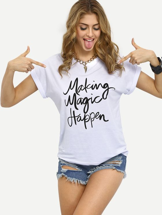 Online shopping for White Letters Print Cuffed T-shirt from a great selection of women's fashion clothing & more at MakeMeChic.COM.