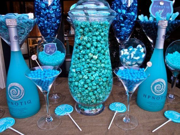blue candy buffet bling hypnotic bottles white choc covered pretzels