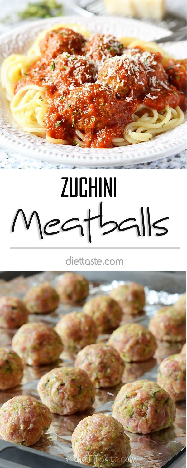 Zucchini Meatballs - baked meatballs with lots of hidden veggies in tomato sauce; your picky eaters will love this healthy meal!