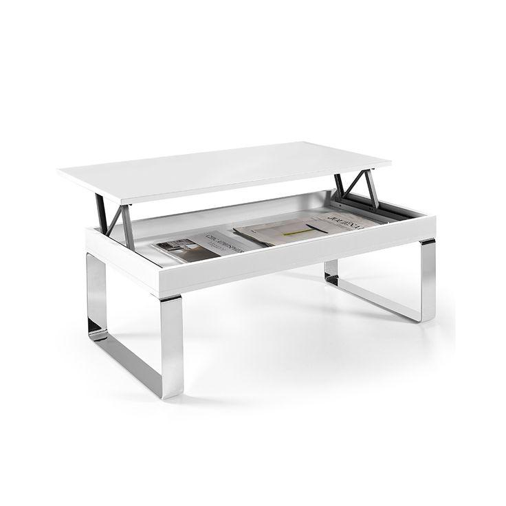Mesa elevable Luga en DM lacado brillo de diseño actual y elegante. Precio irrepetible solo en VentaMueblesOnline.