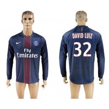Paris Saint Germain PSG 16-17 David Luiz 32 Hemmatröja Långärmad   #Billiga  #fotbollströjor