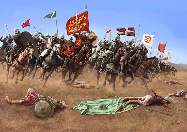 """""""The cavalry charge that Richard, 'The Lion heart', and his knights made at the battle of Arsuf"""" by Mike Perry"""