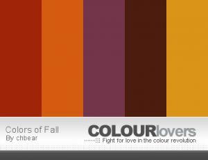 Autumn colors:  rust, burnt orange, eggplant, chocolate, marigold, and olive