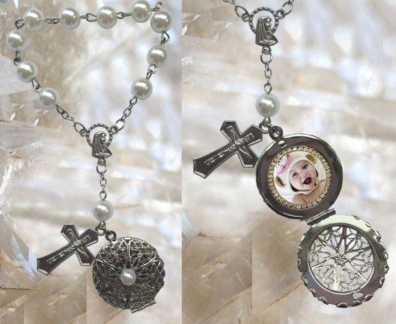 Rosary with YOUR PHOTO Handmade locket Jewelry Pendant White