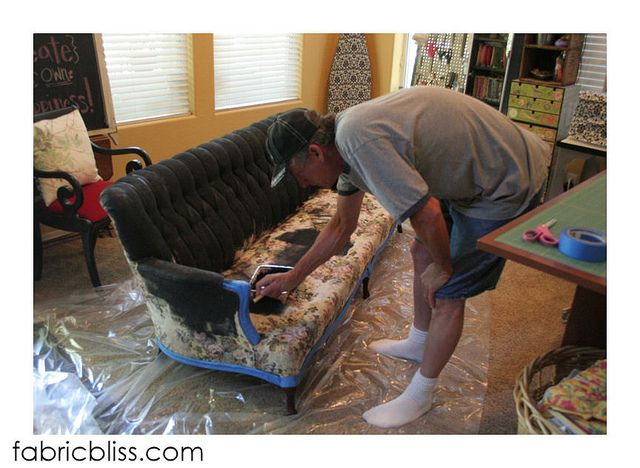 What an amazing makeover!  House paint and Delta Ceramcoat Textile Medium - this paint additive keeps acrylic/latex paint flexible enough to use to paint a couch, without all of it just flaking off.  I'm SO impressed.