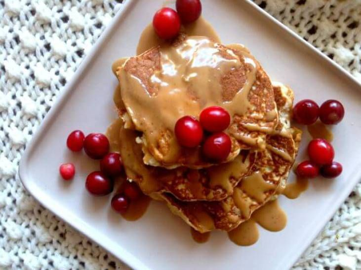 Coconut flour pancakes with cookie butter drizzle