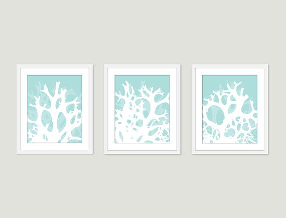 Coral Wall Art Print Set Abstract Modern Home Decor by AldariArt, $45.00
