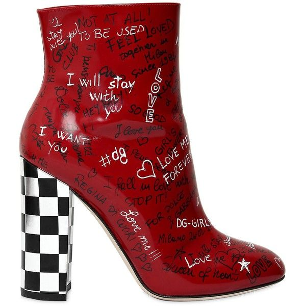 Dolce & Gabbana Women 105mm Graffiti Leather Ankle Boots (1 500 AUD) ❤ liked on Polyvore featuring shoes, boots, ankle booties, red, leather sole boots, red ankle boots, red booties, short boots and high heel boots