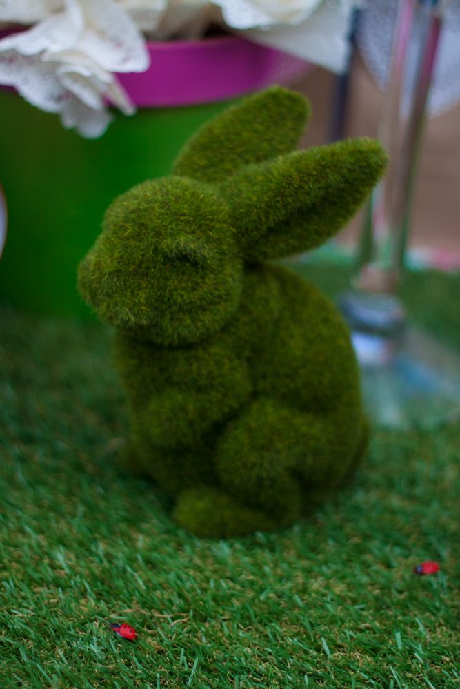 synthetic grass bunny - Garden party table setting (cake table/dessert table/lolly bar) for my daughter Maya's first birthday (styled by Leah Bischoff)