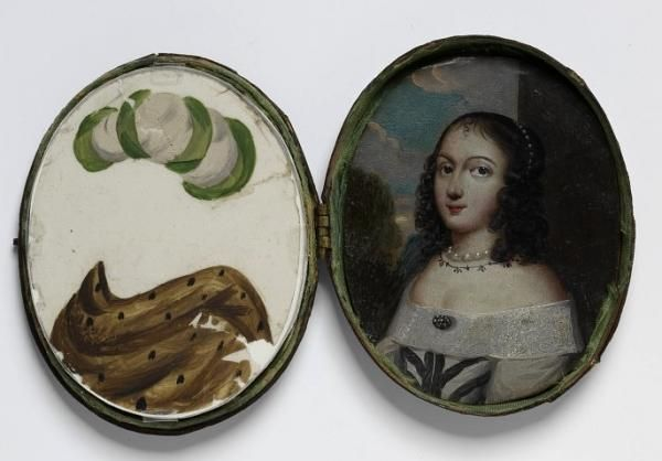 17th century miniature portrait with 27 mica overlays for change of costume.