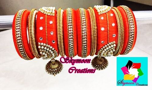 Orange With Golden Color Ethic Indian Wedding Silk Thread Bangles Set Its Purely Handmade Products Whole Ers Are Also Welcome