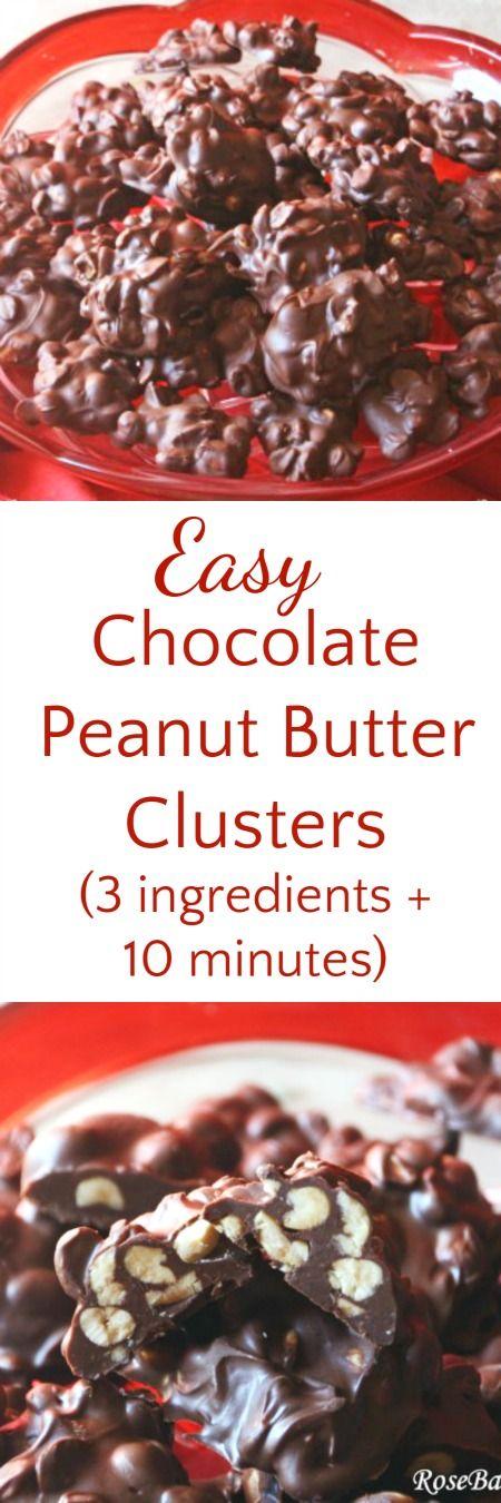 Dark Chocolate Peanut Clusters {Super Easy - 3 Ingredients!!}