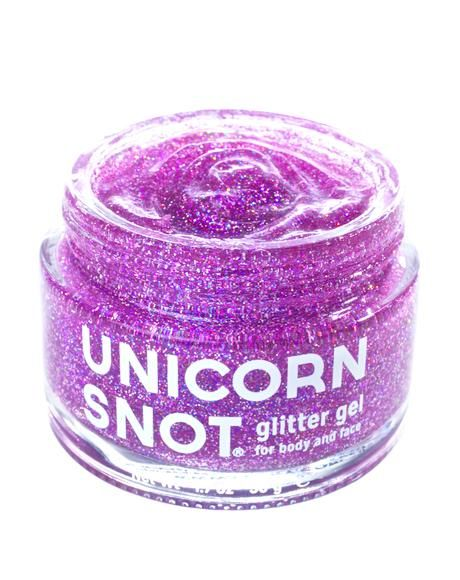 Unicorn Snot Purple Glitter Gel this body glitter is formulated for body and eyes leaving yew with iridescent purple colored glitter anywhere ya place this cool gel.