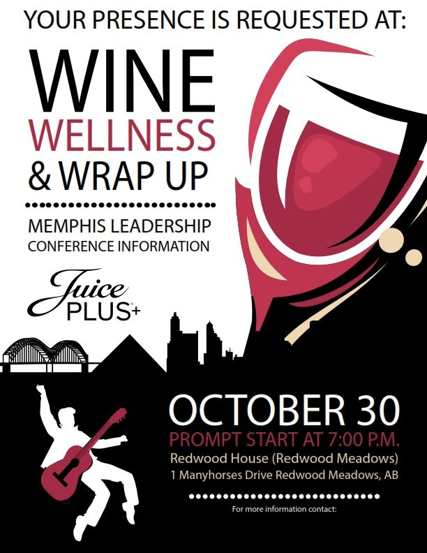 Come on out to the Wine Wellness & Wrap Up! Tomorrow October 30, 2014 at 7:00pm!   See flyer below for more information! #JPCANADA