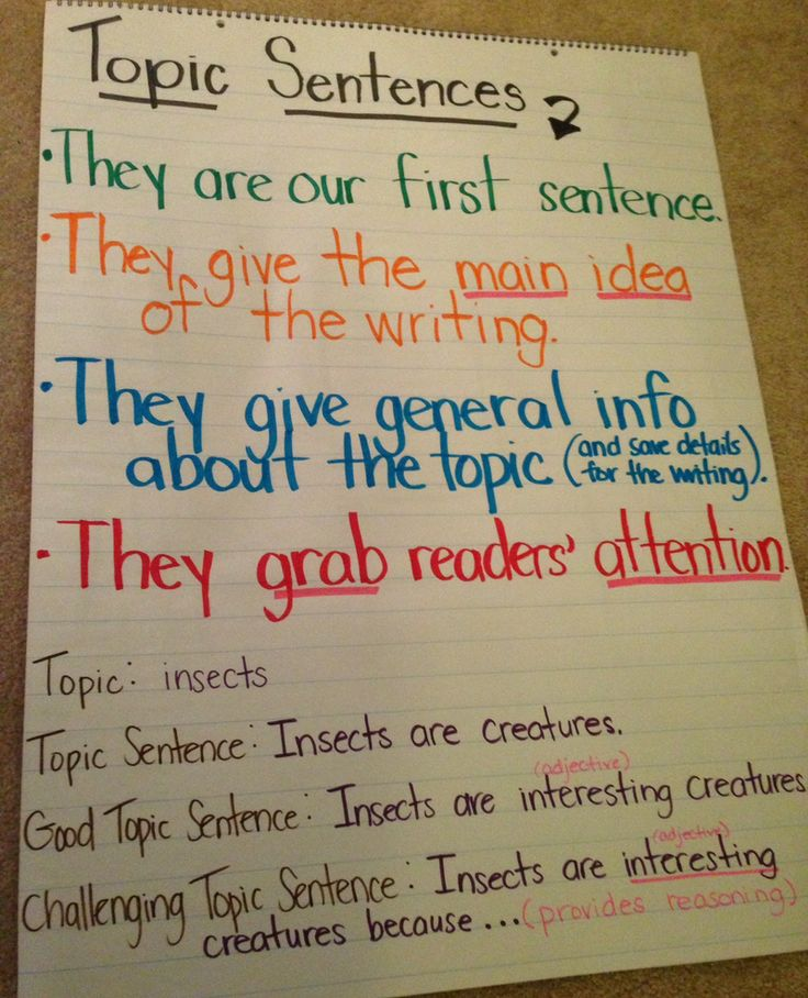 Lesson Plan: Writing a Good Topic Sentence: The 5 Characteristics of a Good Topic Sentence