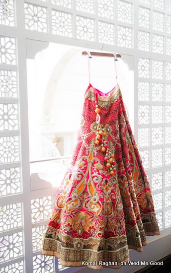 Bridal Lehenga - Coral Pink Lehenga with Gold Zari work and mango yellow patches | WedMeGood #wedmegood #bridal #Lehenga