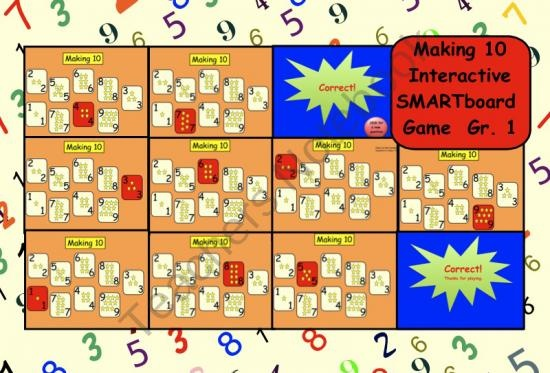 Making Ten: Interactive SMARTboard Game Gr. 1 from Teaching The Smart Way on TeachersNotebook.com (18 pages)