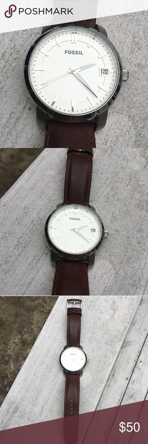 Brown Fossil Automatic Watch Men's Fossil watch with cream colored face and genuine brown leather band. Automatic mechanism - Watch ticks to your movement and doesn't need battery! Soft leather and stylish! Warn only a handful of times and is in excellent condition. Authentic. No trades! Fossil Accessories Watches