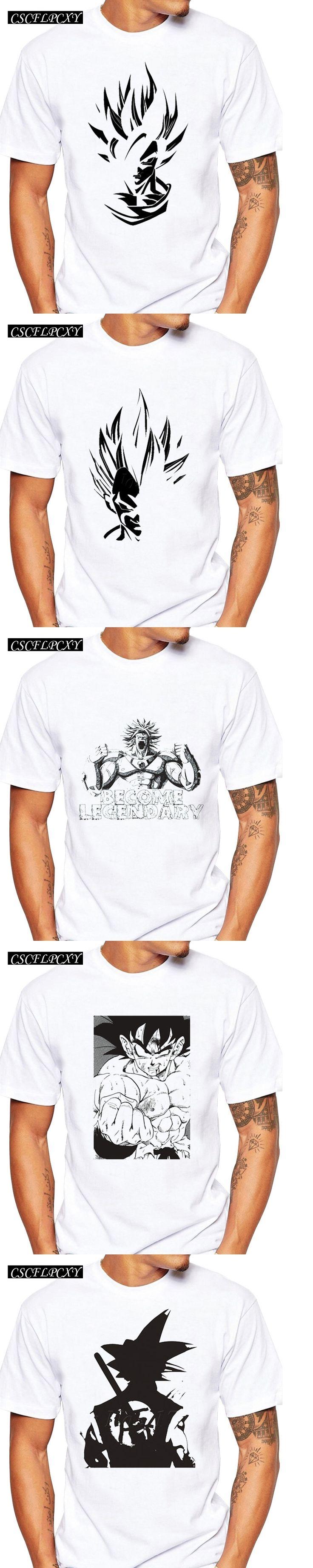 2017 New Famous The Dragon Ball Z Men Cloths Son Goku Super Saiyan Printed Basic T Shirt Fashion White Black Simple Tee For Male