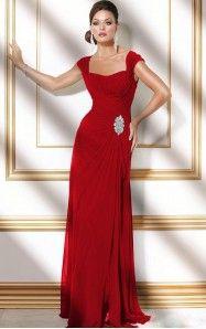 A-line Floor-length Square Red Dress