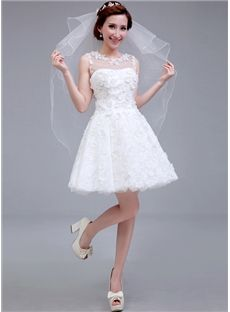 Summer Appliques Sleeveless Petite Zipper-up Short/Mini Natural A-line Wedding Dress