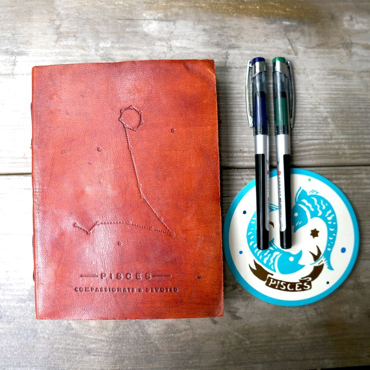 Pisces Zodiac Handmade Leather Journal from Soothi | Style With Substance