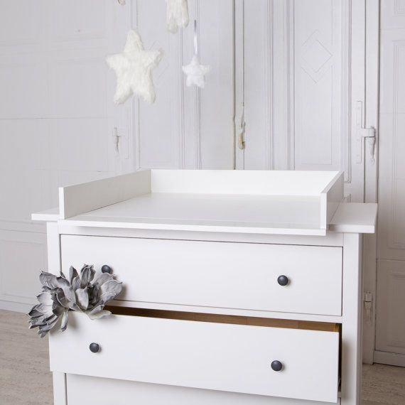 Handmade Baby Changing set, Cot Top in white for all IKEA Tyssedal, Birkeland, Herefoss chest of drawers with a depth of 52-54cm .  The changing
