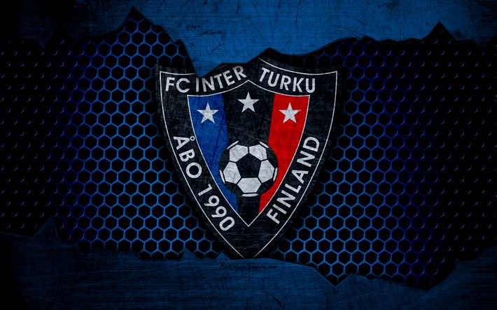 Download wallpapers Inter Turku, 4k, logo, Veikkausliiga, soccer, football club, Finland, grunge, metal texture, Inter Turku FC