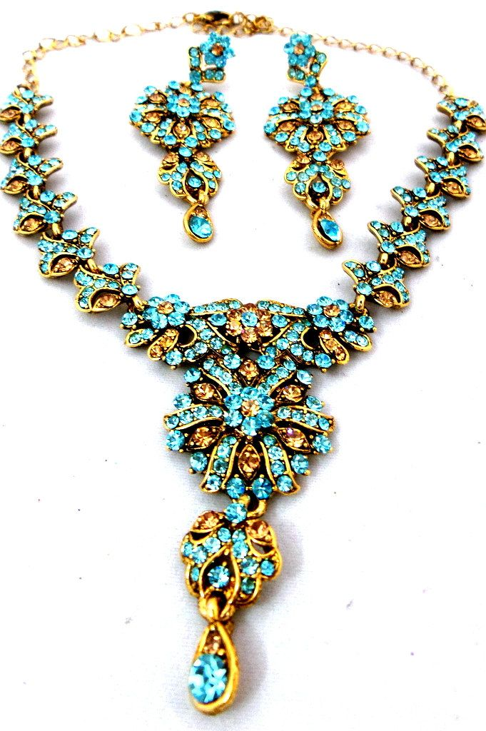 Indian Jewelry Gold Polished Aqua Blue  + Gold Austrian Crystals Choker Necklace Set with Earrings by Nostalgicpearls on Etsy