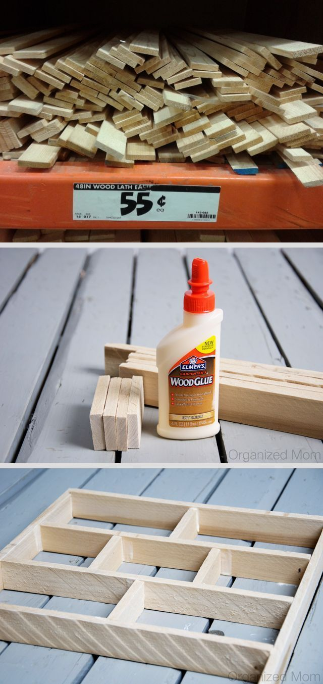 "DIY drawer organizer project ~ 48"" wood laths super-cheap at Home Depot and the store will cut them for you. So simple!"