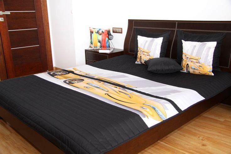 Detské čierne prehozy na posteľ so žltým autom