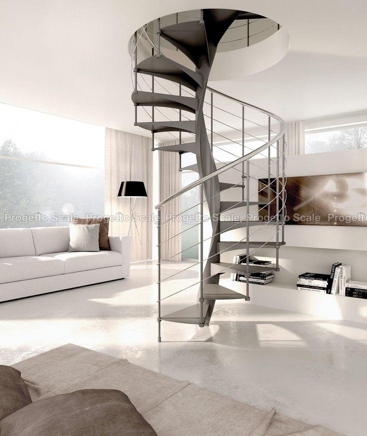 Scala a chiocciola di design. Metallo + white. Futurismo essenziale
