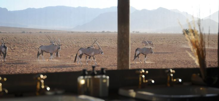 bathroom with a view (Wolwedans Private Camp, NamibRand Nature Reserve, Namibia)