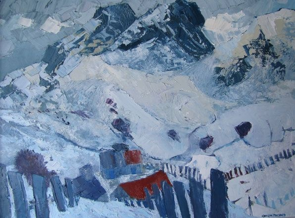 Snow, Y Moelwyn  Gwilym Prichard RCA  Oil on canvas 2001  52 x 71 cm
