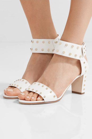 Heel measures approximately 65mm/ 2.5 inches White leather Snap-fastening ankle strap Made in Italy