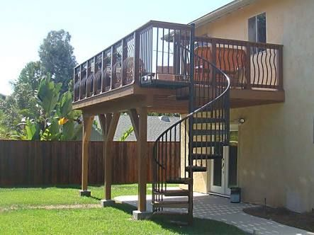 Image result for upstairs deck backyard spiral staircase