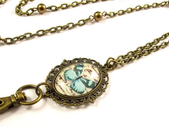 Fashion ID Badge Holder Lanyard Necklace with Blue Butterfly