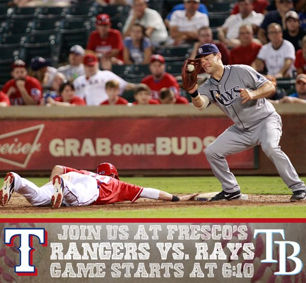 Join us at Fresco's Mexicana as the Texas Rangers try to go 3-1 on the 2014 season.  Game Starts at 6:10 p.m. on Friday Night!  http://goo.gl/