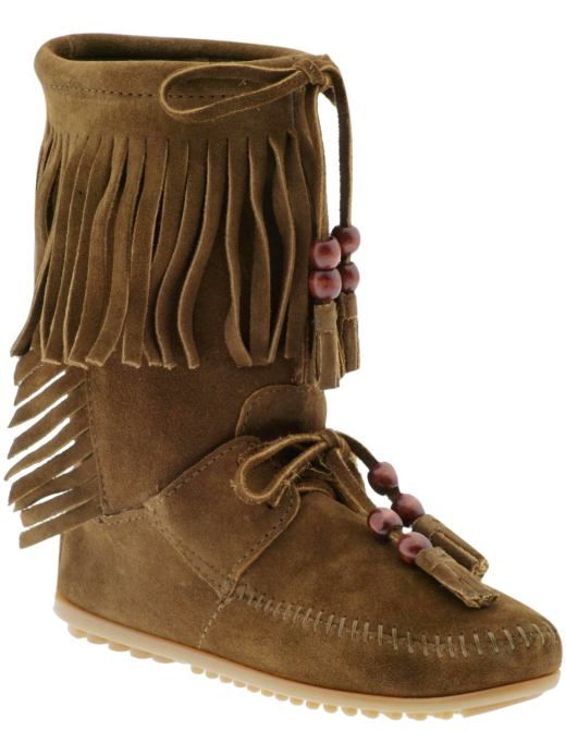 Minnetonka moccasin boot with fringe and beads. Fab.