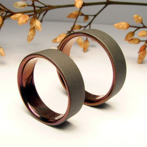 Items similar to Bronze and Gray. Titanium Band. Wedding or Anniversary Set on Etsy