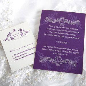 modele faire part mariage violet pas cher JM513