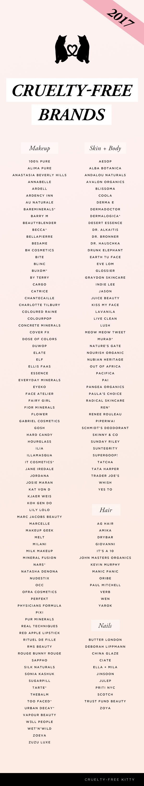 Updated cruelty-free brand list of 2017