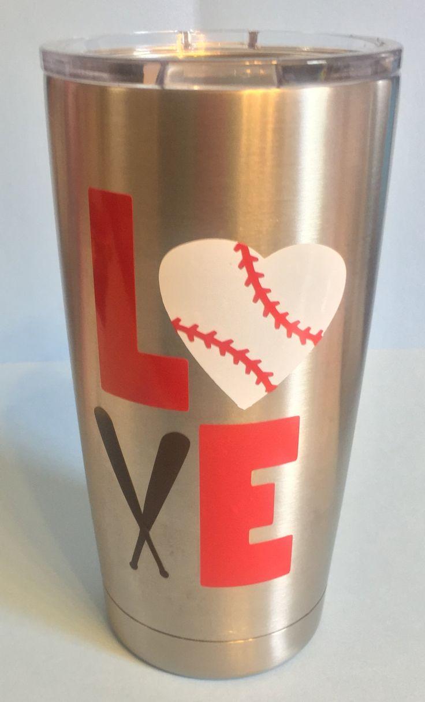 Baseball LOVE Personalized Yeti Tumbler  With Monogram Initials by LeslisDesigns on Etsy